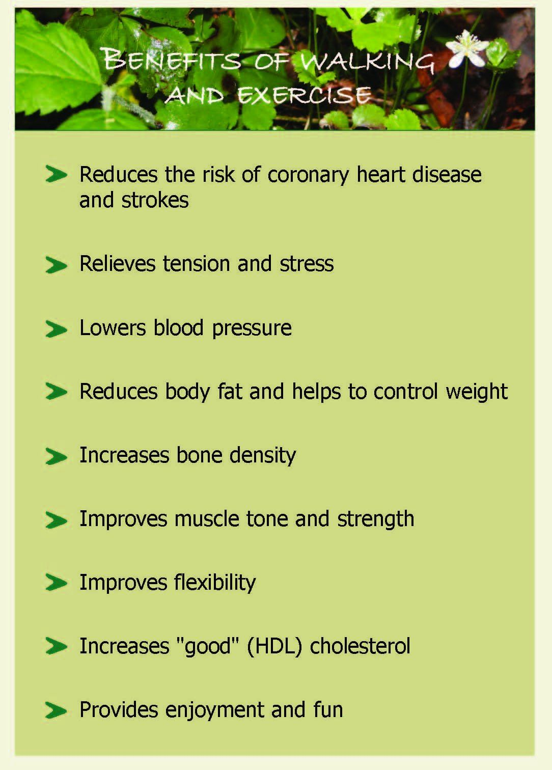 Poster with the benefits of walking and exercising